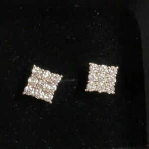Square Iced Silver Studs Cubic Zirconia Zircon Small Chic Earrings Screwbacks