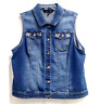 Baccini Women's Denim Jean Vest Size XL Pockets Buttons Collared Embellished