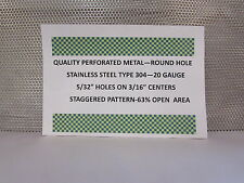 """20 GAUGE 304 STAINLESS PERORATED SHEET--5/32"""" HOLES ON 3/16""""STAGGERED 24"""" X 24"""""""