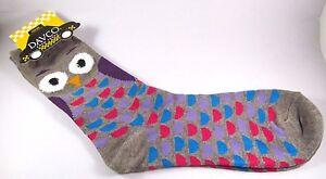 Davco Wide Eyed Owls Socks Womans Light Gray Acrylic Blend Sock New