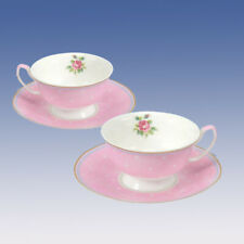 PAIR of RETRO STYLE CHINA TEA CUPS & SAUCERS PINK & WHITE AFTERNOON TEA & CAKE
