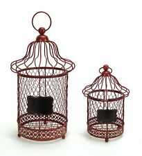 Red Metal Bird Cage Style Lanterns with Chalkboard Sign (set of 2)