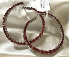 8.5 Ct, Natural, Burmese Ruby Hoop Earrings, Platinum On Sterling Silver 16 Gms