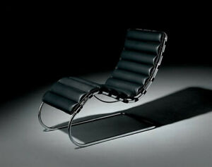 Mies Van Der Rohe Chaise Black Leather - Italian Authentic Licensed Reproduction