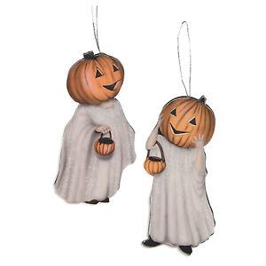 Set/2 Bethany Lowe Jack O'Lantern Ghosts Retro Vntg Halloween Ornaments Decor