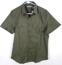 MICHAEL BASTIAN Mens Short Sleeve Button Down Shirt Dark Green Size S