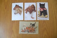 LOTTO 4 ANTICHE CARTOLINE ILLUSTRATE CANI GATTI CAVALLI PRIMI '900 SUBALPINA W