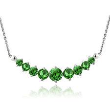 Sterlingsilber Smaragd abgestuft Halskette