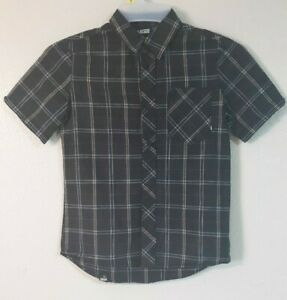 VANS Button Up - Snaps Shirt Junior M Short Sleeve Black White Red Checkers