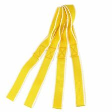 4pcs Yellow-White Soft Loop Tie Down Strap for Motorcycle ATV Towing Cargo US
