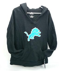 DETROIT LIONS NFL Womens Black V-Neck HOODIE - M, L, XL, XXL - NWT