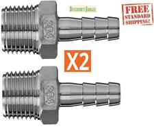 "1/2"" MPT x 3/8"" Hose Barb Male thread NPT Stainless Steel 304 Ships From US (X2)"