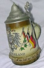 "Germany 6.5"" Stein Lidded Deutschland Crest Flags King 5 Handpainted 450 Pewter"