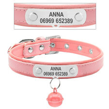 Personalized Padded Leather Dog Collars Custom Pet Cat Collar Name ID Tag & Bell