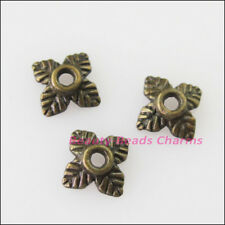 100 New Connectors Square Leaf Antiqued Bronze Tone End Bead Caps 6mm