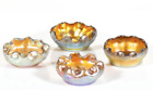 SET OF 4 TIFFANY FAVRILE IRIDESCENT ART GLASS OPEN SALTS SIGNED EARLY 20TH
