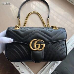 Gucci Shoulder cross Marmount Calfskin Metalasse Bag Women  Black Hand....