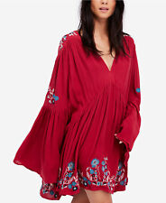Free People Te Amo Mini Dress Tunic Red Combo Embroidered M