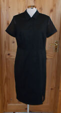 LAURA CLEMENT black short sleeve midi knee long office smart shirt dress 14 40