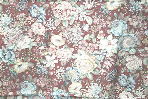 GORGEOUS VICTORIAN FLORALS ON MAROON BY JOAN KESSLER - 100% COTTON FABRIC