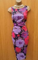 Exquisite Karen Millen Satin Purple Red Black Floral Wiggle Cocktail Dress 12 UK