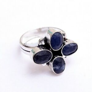 Sapphire Corundum Silver Plated Handcrafted Ring Size 7.75 Z862