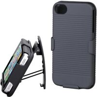 iPHONE 5S 5 BLACK HARD SHELL COMBO CASE BELT CLIP HOLSTER ARMOR COVER KICKSTAND