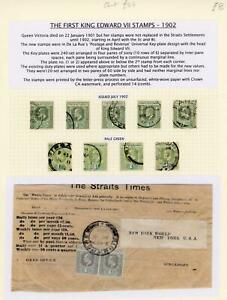Straits Settlements KEVII Stamps on Album Page, LOOK!