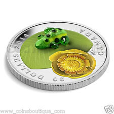 Water Lily and Leopard Frog Murano Venetian Glass 1 oz silver proof Canada 2014
