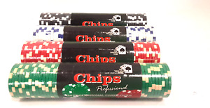 200 Professional Clay Poker Chips - 4 Factory Sealed Packs of 50 Casino Quality