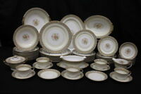 Mint 58pc Vtg Noritake CLAIRE Floral #657 Gold Trim, Tan/Blue China for 7+ (165)