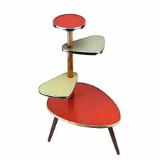 ❤️ Vintage Plant Stand Table Gold Green Red Brown Yellow 50s Mid-Century Modern