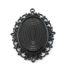 8psc Vintage Style Black Cameo Setting Tray Tone Alloy Oval Lace Jewelry Finding