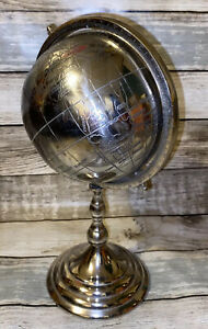 Vintage Silver Metal Etched World Globe Rotating Tabletop Chrome Finish Decor