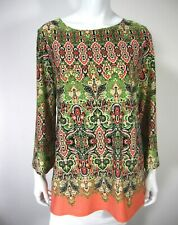 Sunny Leigh Long Sleeve  Blouse Top Boat Neckline Paisley M Medium Green