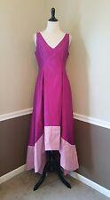 Adrianna Papell Fuchsia Pink Gown 8/10 Taffeta Hi-Lo Formal Modcloth Maxi Dress
