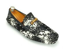 New Gucci Black & White Calf / Pony Hair Bamboo Driving Mocs 8.5 EU / 9.5 US