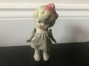 """LOT-3 ANTIQUE MINIATURE BISQUE FLAPPER KEWPIE 3. 4"""" JOINTED GLANZING DOLL, RARE?"""