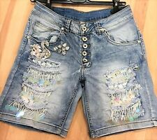 exclusiver Jeans Shorts blau made in Italy, kurze Hose, Gr. M L 36/38  u. 38/40