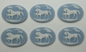 White Horses on Blue Cameos 25X18mm Resin Cabochons Mare Stallion Western Qty 6
