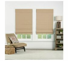 Perfect Lift Khaki Cordless Blackout Cotton Roman Shades 27 in. W x 72 in. L