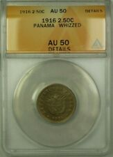 1916 Panama 2.50 Cent�simos Coin ANACS AU 50 Whizzed Details