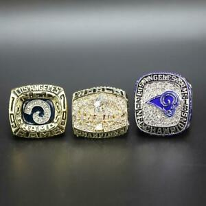 3PCS 1979 1999 2018 St. Louis Rams American Football Team Ring Set Fan Men Gift
