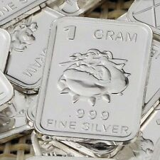 "1 Gram .999 Fine Solid Silver Bullion New Art-Bar: "" BULL DOG """