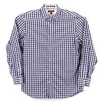 Banana Republic Men's Non Iron Slim Fit LS Large Purple White Blue Check Shirt