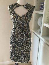 Nanette Lepore Dress, Size 8, Ruched Side, Cut Out Neckline, Animal Print