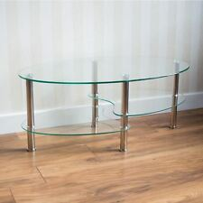 Cara Coffee Table Clear Oval Shelves Glass Modern Steel Legs By Home Discount