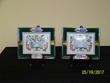 Pair Antique Chinese Cigar Trays Famille Rose Hand Decorated For French Market