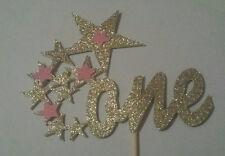 1ST BIRTHDAY ONE STAR CAKE TOPPER GOLD GLITTER TWINKLE TWINKLE LITTLE STAR