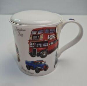 Dunoon fine bone china lidded mug Richard Partis design various vehicles